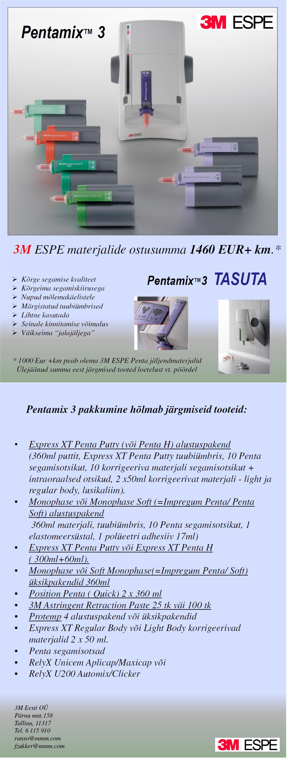 3M Pentamix 3 & Pentamix Lite pakkumine